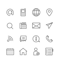 Simple set of contact us thin line icons vector