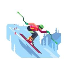 Slalom downhill skiing vector image