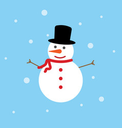 snowman icon flat style on blue background vector image
