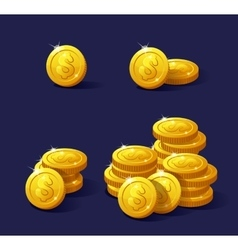 Stack of coins dollar vector