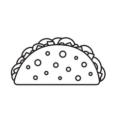 taco mexican food fast food simple black line icon vector image