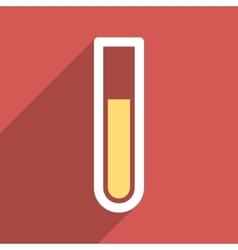 Test tube flat longshadow square icon vector