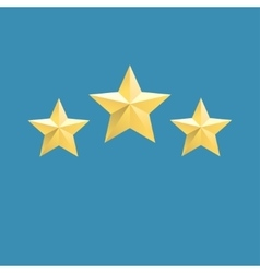 three relief gold stars icon vector image