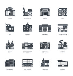 Town buildings front view set vector