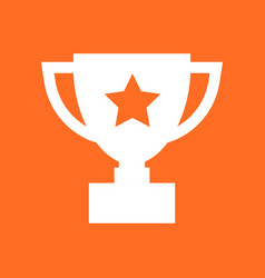 Trophy cup flat icon simple winner symbol white vector