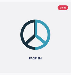 Two color pacifism icon from world peace concept vector