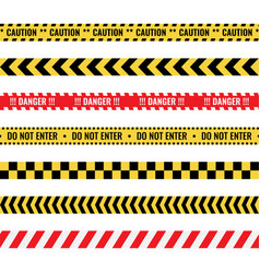 Warning tapes with text seamless caution lines vector