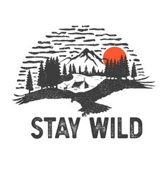 wilderness hand drawn with image vector image