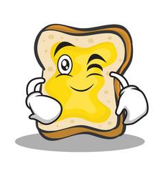 wink face bread character cartoon vector image vector image
