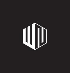 Wn logo monogram hexagon with black background vector