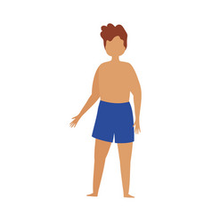 young man in swimsuit short pants cartoon isolated vector image