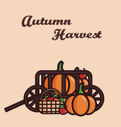 a cart filled with crop pumpkins vector image vector image