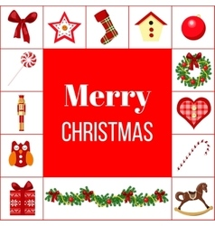 Christmas greeting card with different symbols vector image vector image