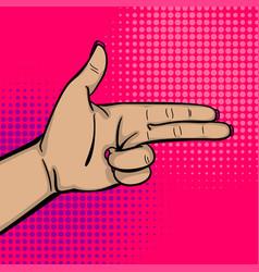 pop art woman hand show bang gun finger vector image vector image