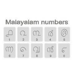 set of monochrome icons with malayalam numbers vector image
