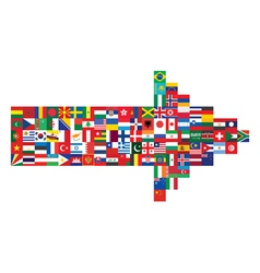 arrow made of flag icons vector image