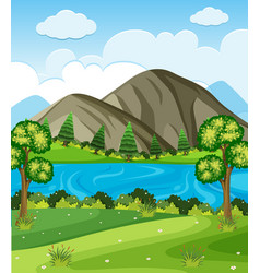 background scene with mountains and lake vector image