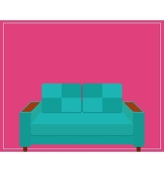 Blue Sofa Icon on Pink Background vector image