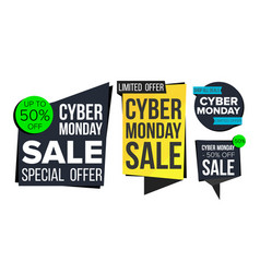 cyber monday sale banner set discount tag vector image vector image
