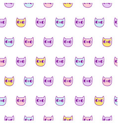 neon cats pattern vector image vector image