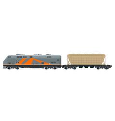 orange locomotive with hopper car vector image vector image