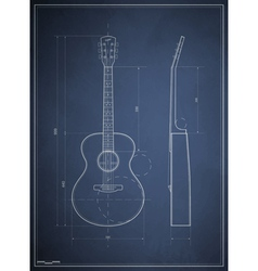 blueprint drawing six-acoustic guitar vector image