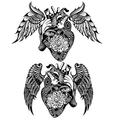 Decorative human heart tattoo vector