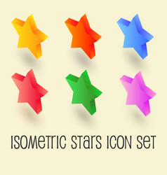 five-pointed colorful star isometric icon set vector image