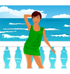 girl on quay at the sea - vector image vector image
