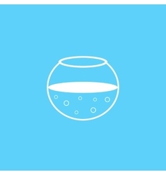 outline white aquarium icon on blue background vector image vector image