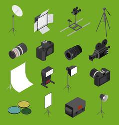 photo studio equipment icon set isometric view vector image vector image