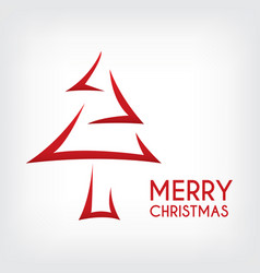 red abstract merry christmas tree arrow paper cut vector image