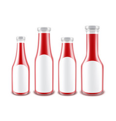 set of red ketchup bottles with white labels vector image vector image