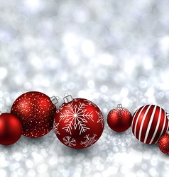 Silver background with red christmas balls vector image vector image