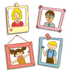 cute frame with family photo vector image