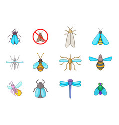 insects icon set cartoon style vector image vector image