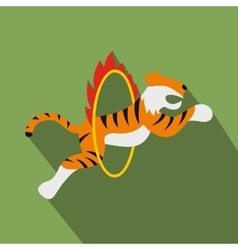 Tiger in flaming hoop vector