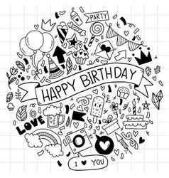 005 hand drawn happy birthday ornaments freehand vector
