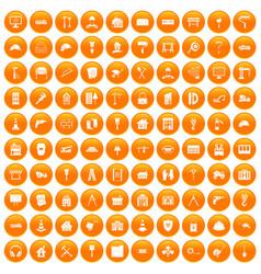 100 construction icons set orange vector
