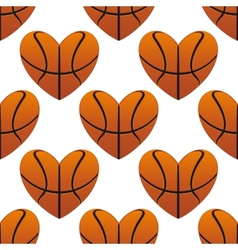 Basketball hearts in a seamless pattern vector