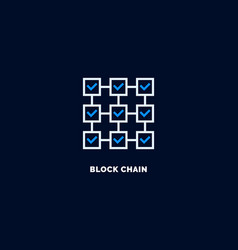 blockchain icon outline style vector image