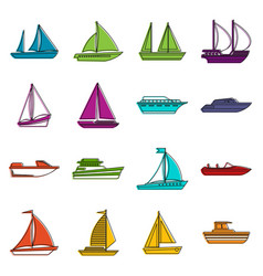 boat and ship icons doodle set vector image