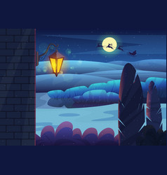 brick wall with glowing lantern located against vector image