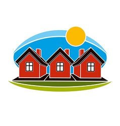 Bright of simple country houses on sunrise vector