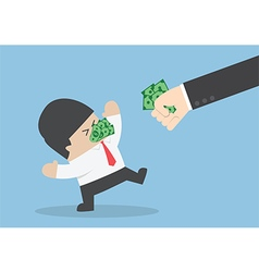Businessman being forced to eat money vector image