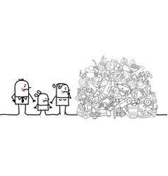 Cartoon ashamed consumer family watching a big vector