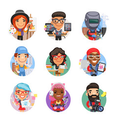 Cartoon people avatars with different professions vector