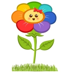 Cartoon Smiling Flower Happy Daisy Isolated On vector image
