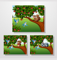 cartoon squirrel and racoon on apple tree vector image