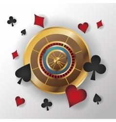 Casino gold roulette design vector